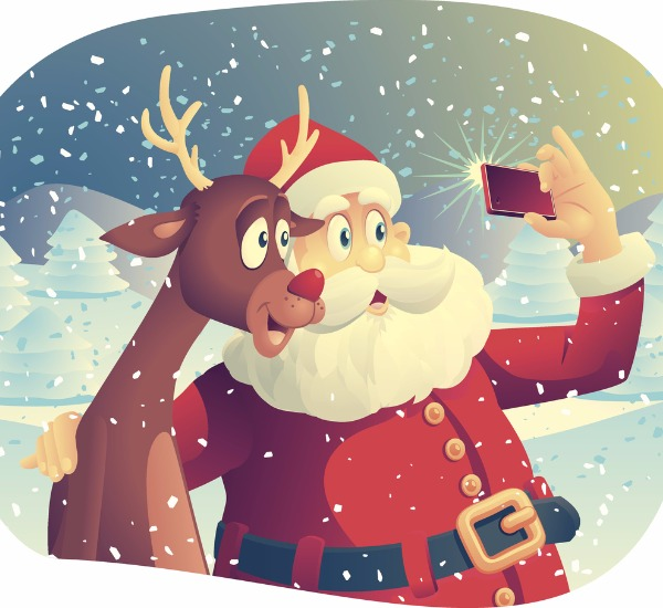 Catoon Santa and Rudolph selfie